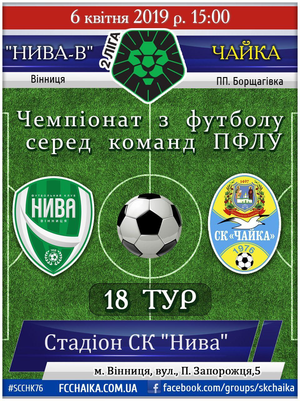 Чемпіонат з футболу серед команд ПФЛУ, Друга ліга 18 тур 06 квітня 2019 р. 15:00